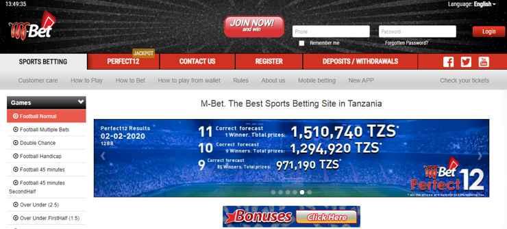 M-bet homepage