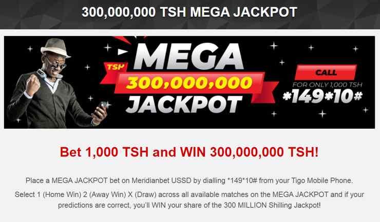 Meridianbet promotion - Mega jackpot 300,000,000 TSH