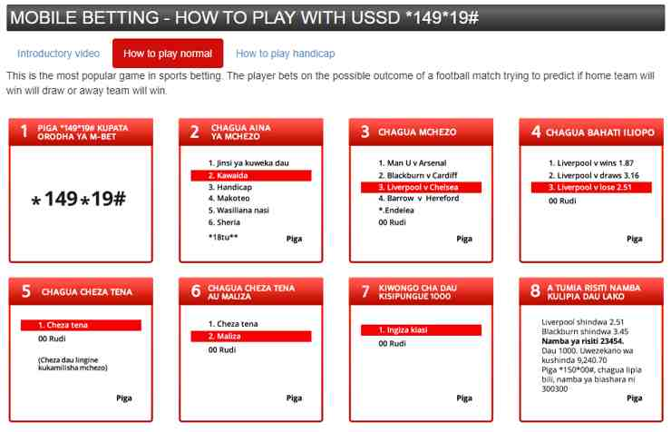 Mobile betting. The player bets on the possible outcome of a football match trying to predict if home team will win will draw or away team will wi