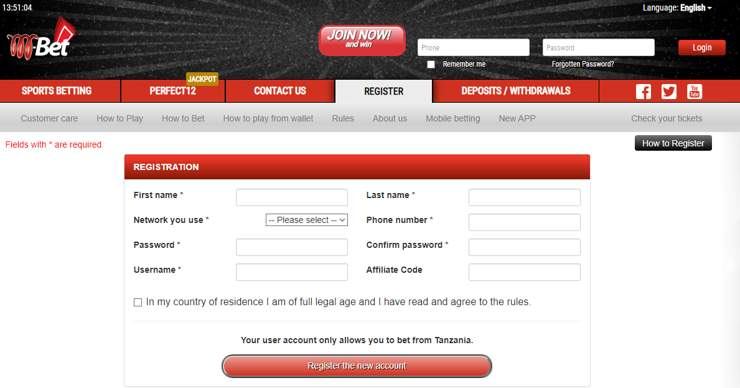 Registeration on M-bet